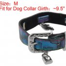 Lock Bear Charms Adjustable Faux Leather Dog Collar M