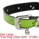 Pet Dog 5 Perforated Faux Leather Band Green Collar Sz L