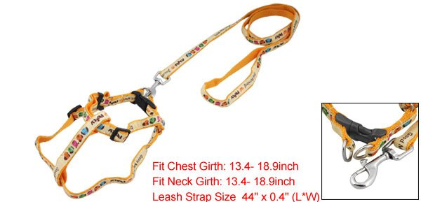 Dog Pet Lobster Clasp Pulling Harness Orange Yellow Leash Rope