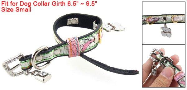 S Rhinestone Metal Buckle Faux Leather Dog Collar w Lock Bear Charms