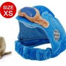 Dog Winter Warm Sponge Filled Blue Velvet Hat Cap Size XS
