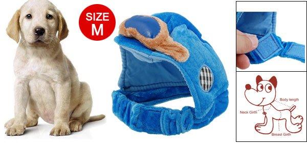 Velcro Fasten Blue Velvet Sponge Size M Hat for Dog
