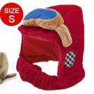 Dog Winter Warm Sponge Filled Red Velvet Hat Cap Size S
