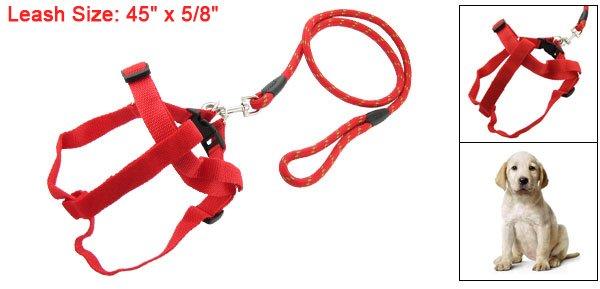Red Walking Harness Lead Strap Adjustable Leash for Pet Dog