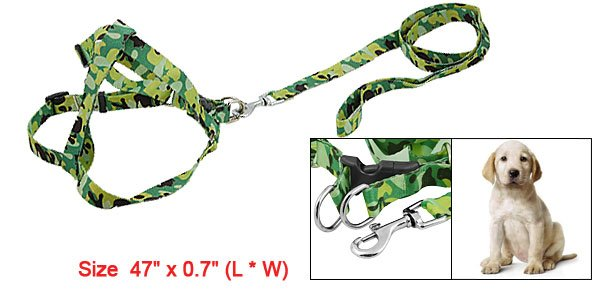 Green Camouflage Print Dog Safety Harness Leash Walking Lead