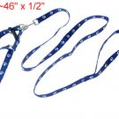 Dog Pet Paw Adjustable Nylon Leash Harness Rope Blue