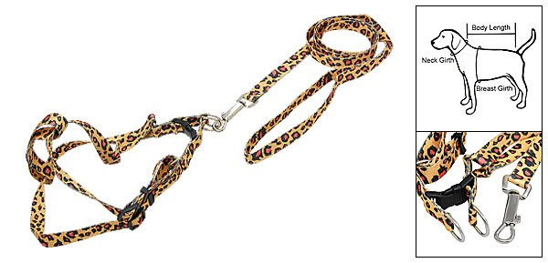 Leopard Print Nylon Harness Leash Strap for Dog Size M