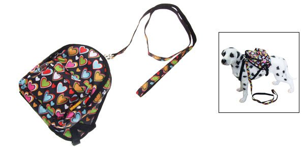 Doggie Pet Backpack Leash Love Heart Pattern Bag