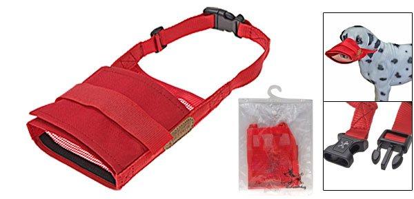 Red Soft Muzzle Pet Dog Anti Bark Chew Mask Size XL