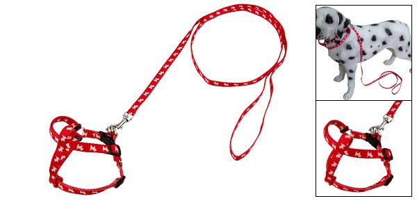 Red Nylon Dog Pet Puppy Harness Pulling Leash Rope