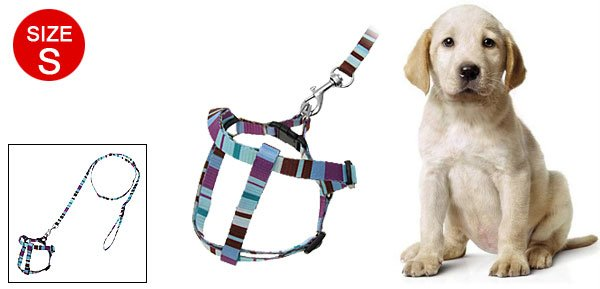 Stripe Pattern Nylon Dog Puppy Leash Harness Size S