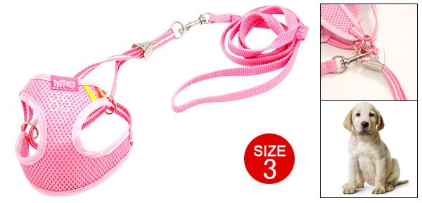 Doggie's Pink Vest Style Harness Leash Strap Size 3