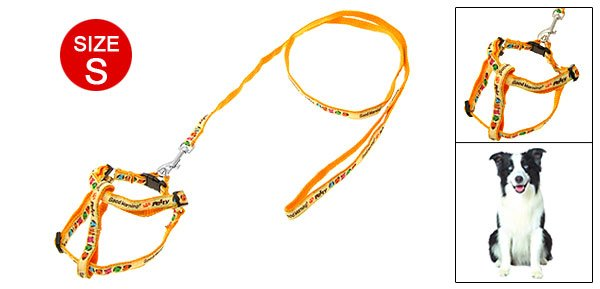 Yellow Doggie Nylon Harness Dog Puppy Leash Lead Size S