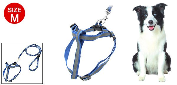 Size M Nylon Step-In Dog Pet Safe Reflective Harness and Leash Set