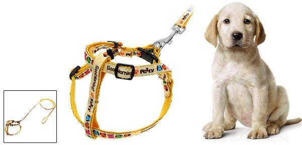 Cartoon Pet Dog Nylon Pulling Harness Leash Rope Yellow
