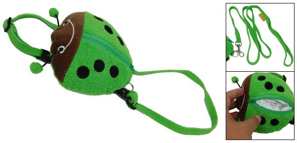 Ladybug Ladybird Pattern Dog Doggie Knapsack Pack & Leash Green