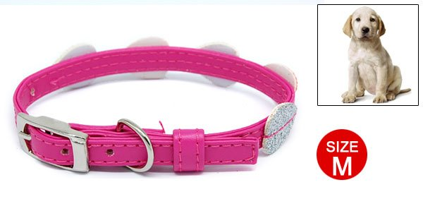 Glittering Dog Puppy Doggie Doggy Collar Belt with 3 Buckle Set Pink