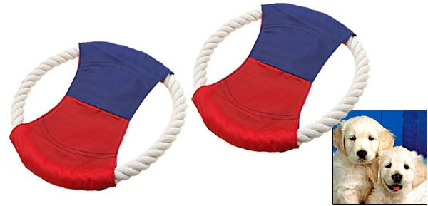 2 Training Catching Rope Frisbee Flyer Toy for Dog Pet