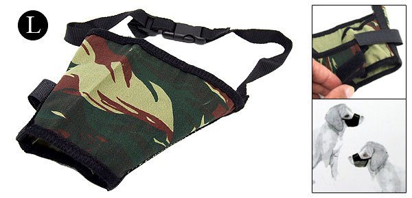Size 3 Anti Bark Chew Bite Army Camouflage Dog Muzzle