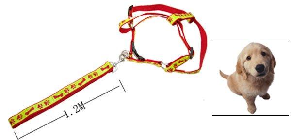 Paws Bones Design Nylon Pet Dog Harness and Leash Set Red