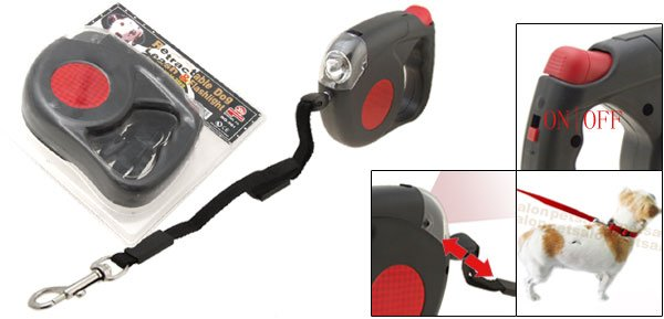 Flex 4.5M Retractable Dog Leash with Flashlight Torch Black