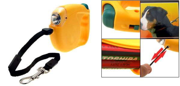 Yellow Flex Retractable Dog Leash with Flashlight Torch 15FT