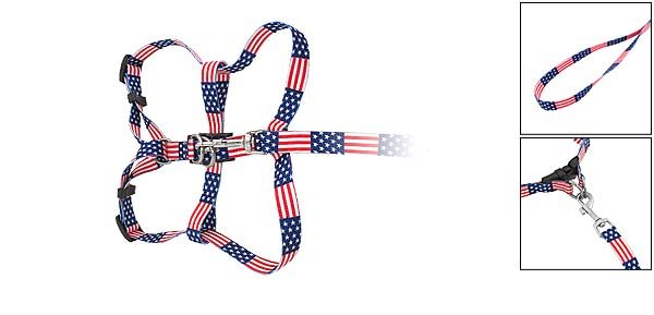 DOG Web Collar Harness Leash Strap for Small dogs - US Star & Stripe