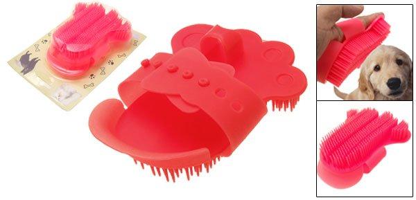 Dog Cat Pet Hand Shape Plastic Shower Bath Brush Red