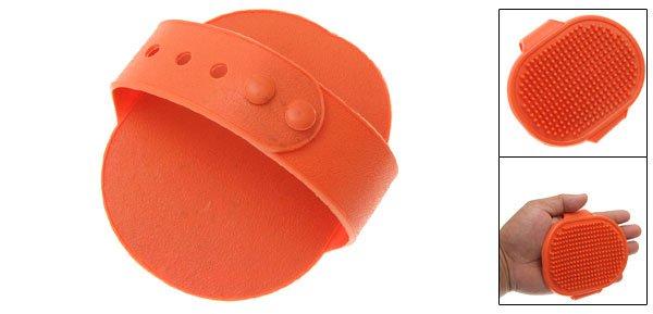 Dogs Cats Pet Grooming Oblong Orange Soft Plastic Bathing Brush