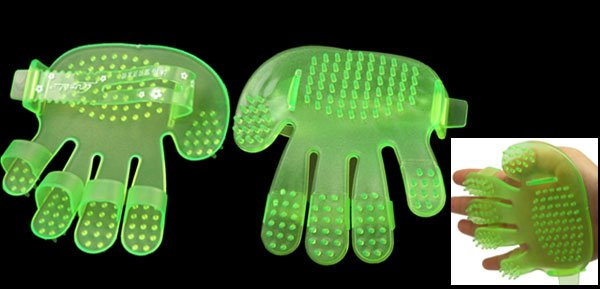 Dogs Cats Pet Grooming Bath Massage Green Plastic Glove Brush