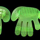 Dogs Cats Pet Grooming Bath Massage Green Plastic Glove Brush