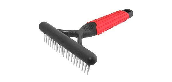 "Pet Dog Grooming Magic Rake Comb ""L"" - Red & Black"