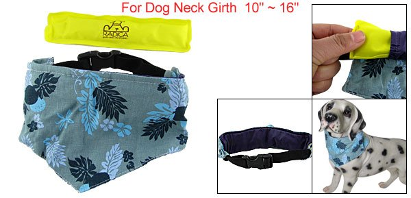 Flower Leaves Pattern Dog Neckerchief w Yellow Ice Pack