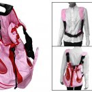 Half Round Base Red Mesh Pink Drawstring Top Pet Dog Carrier Bag