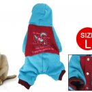 Blue Red Rabbit Pattern Press Stud Pet Doggy Hooded Clothes L