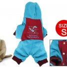 Rabbit Print Press Button Closure Pet Dog Hooded Clothes Red Blue S