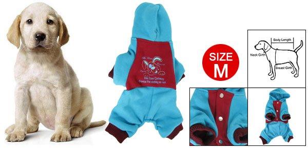 Press Stud Closure Red Blue Costume Pet Dog Autumn Jumpsuit M