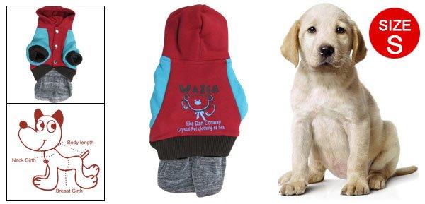 S Blue Red Bear Print Hoodie Press Stud Pet Dog Costume Dress