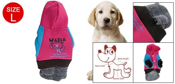 Pet Dog Fuchsia Blue Elastic Cuffs Hem Winter Pocket Dress L