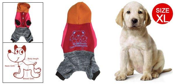 Dark Red Blue Bear Pattern Jumsuit Romper Dog Pet Clothes XL