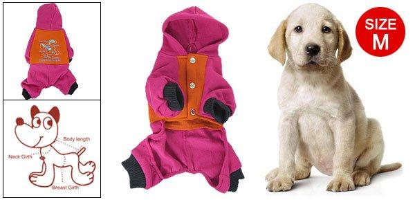 Ribbed Cuff Jumpsuit Romper Clothes Orange Fuchsia M for Dog