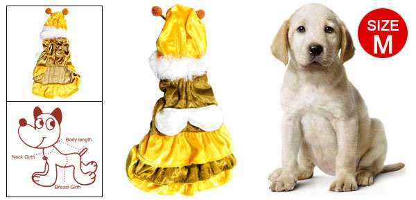 Size M Bee Style Yellow Coffee Velvet Dress Pet Dog Apparel