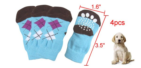 Argyle Pattern Knitted Stretchy Socks 4Pcs for Pet Dog