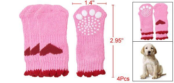 Heart Pattern Knitted Stretchy Socks Pink Red for Doggy