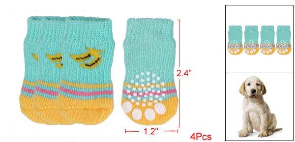 Pet Dog Banana Pattern Non-slip Sole Elastic Socks 4Pcs
