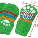 Paw Pattern Colorful Stripe Green Elastic Socks for Dog