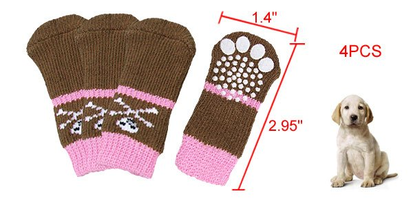 Brown Pink Knitted Stretchy Non-slip Socks 4Pcs for Dog