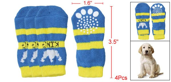 Puppy Crown Pattern Knitted Stretchy Blue Yellow Socks