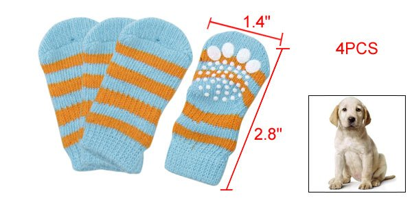 Dog Striped Pattern Stretchy Knitted Socks Blue Yellow