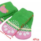 4Pcs Bear Head Patterns Soft Socks Green Pink for Pet Puppy Dog